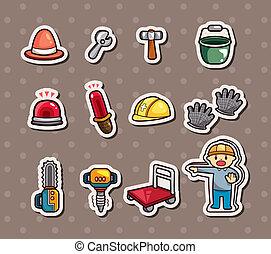 set, van, bouwsector, stickers
