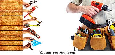 set, van, bouwsector, tools.