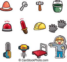 set, van, bouwsector, voorwerp