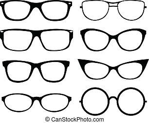 set, van, brillen