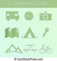 set, van, buiten, zomer, kamperen, icons.