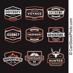 set, van, buitene avontuur, en, het reizen, tandwiel, badge, logo