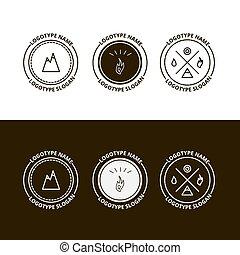 set, van, buitene avontuur, expeditie, toerisme, logo
