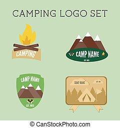 set, van, buitene avontuur, kentekens, en, campsite, logo, emblems., zomer, 2015, stickers.