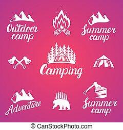 set, van, buitene avontuur, kentekens, en, kamperen, logo, emblems.