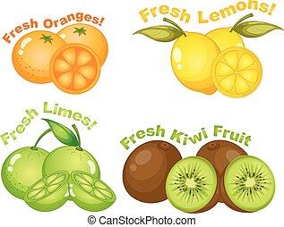 set, van, citrusvruchten