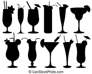 set, van, cocktail glazen