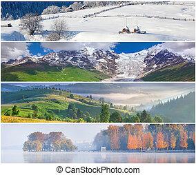 set, van, de, 4, jaargetijden, landscape, voor, banieren