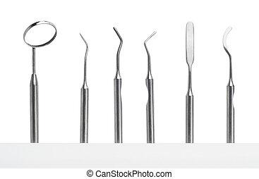 set, van, dentale zorg, instrumenten