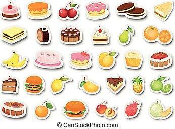 set, van, dessert, en, fruit, sticker