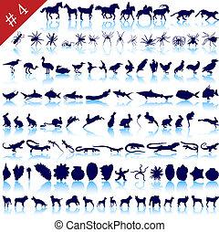 set, van, dier, silhouettes