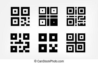 set, van, digitale , qr, code, iconen