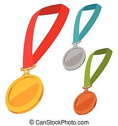 set, van, drie, kampioen, medailles, toewijzen, met, lint