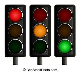 set, van, drie, stoplichten