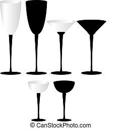 set, van, drinkende glazen