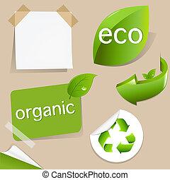 set, van, eco, vriendelijk, etiketten
