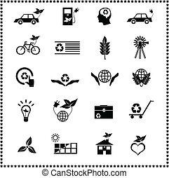 set, van, ecologisch, iconen