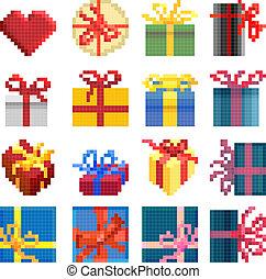 set, van, eenvoudig, pixel, kadootjes, box.