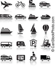 set, van, eenvoudig, vervoeren, iconen