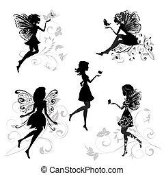set, van, elfjes, met, vlinder