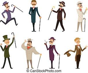 set, van, engelse , victoriaans, gentlemen., karakters, in,...
