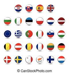 set, van, europese unie, land, vlaggen