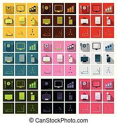 set, van, financiën, en, bankwezen, icons., eenvoudig, communie