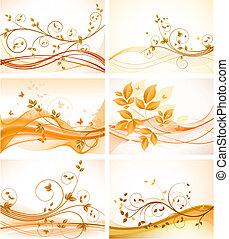 set, van, floral, abstract, achtergronden