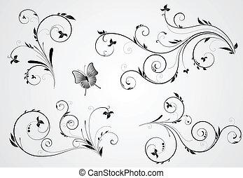 set, van, floral, kolken, ontwerpen