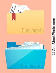 set, van, folders, pictogram