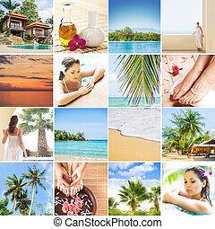 set, van, foto's, over, thailand., het reizen, concept