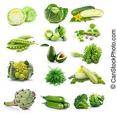 set, van, fris, groen groenten, vrijstaand, op wit