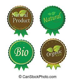 set, van, fris, organisch, etiketten