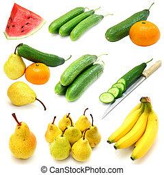 set, van, fruit en groenten, vrijstaand, op wit, achtergrond