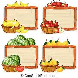 set, van, fruit, spandoek