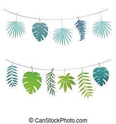 set, van, garlands, van, tropische , bladeren