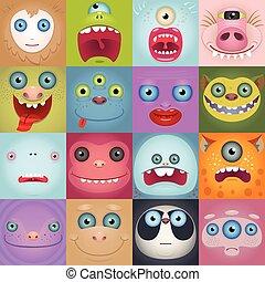 set, van, gekke , spotprent, monster, gezichten