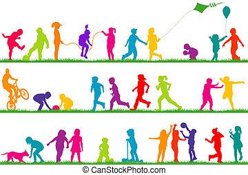 set, van, gekleurde, kinderen, silhouettes, spelend, buiten