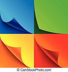 set, van, gekrulde, kleurrijke, papier, pagina, hoeken, met, realistisch, schaduwen