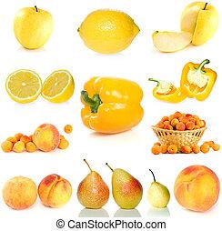 set, van, gele, fruit, besjes, en, groentes