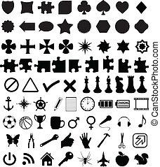 set, van, gevarieerd, gedaantes, en, symbolen