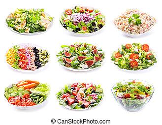set, van, gevarieerd, salades