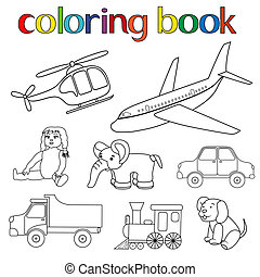 set, van, gevarieerd, speelgoed, voor, kleurend boek
