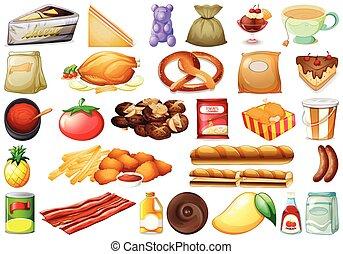 set, van, gevarieerd, voedingsmiddelen