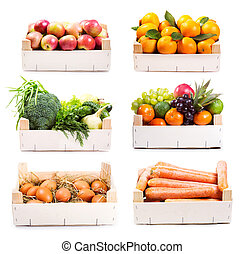 set, van, gevarieerd, voedingsmiddelen, in, houten doos