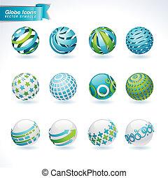 set, van, globe, iconen