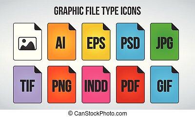 set, van, grafisch, of, beeld, bestand, formaten, icons., vector, illustratie, vrijstaand, op wit, achtergrond.