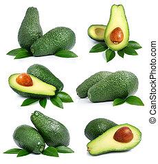 set, van, groene, avocado, vruchten, met, blad, vrijstaand,...