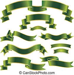 set, van, groene, linten