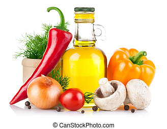 set, van, groentes, en, specerij, voor, voedingsmiddelen,...